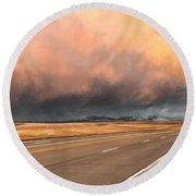Cloudy Highway Round Beach Towel
