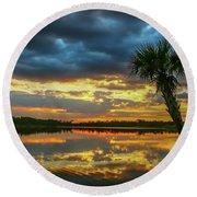 Cloudy Lake Sunset Round Beach Towel