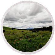 Cloudy Meadow Round Beach Towel