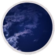 Cloudy Moon With Jupiter Round Beach Towel