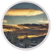 Cloudy Mothership Round Beach Towel