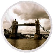 Cloudy Over Tower Bridge Round Beach Towel