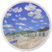 Clouds Above The Sunny Beach Round Beach Towel