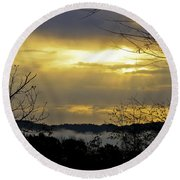 Cloudy Sunrise 1 Round Beach Towel