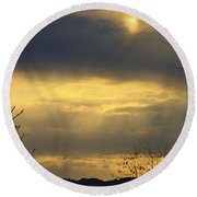 Cloudy Sunrise 4 Round Beach Towel