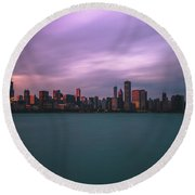 Cloudy Sunset Chicago Skyline Round Beach Towel