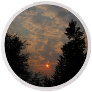 Cloudy Sunset Round Beach Towel