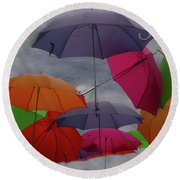 Cloudy With A Chance Of Umbrellas Round Beach Towel