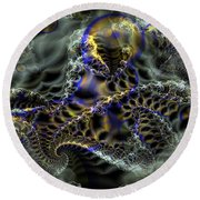 Cloudy With Fractals Round Beach Towel