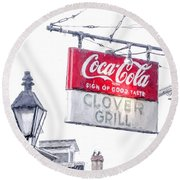 Clover Grill Coke Sign Round Beach Towel
