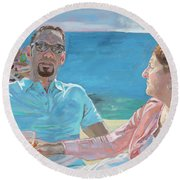 Clovis And Bethany At Tobacco Bay, Bermuda Round Beach Towel