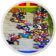 Clown Car Racing Game Round Beach Towel