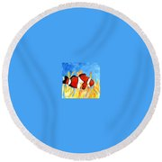 Clownfish Marine Sealife Art Print Round Beach Towel