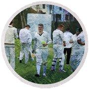 Club Cricket Tea Break Round Beach Towel