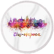 Cluj-napoca Skyline In Watercolor Splatter Round Beach Towel