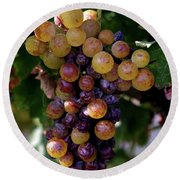 Cluster Of Ripe Grapes Round Beach Towel