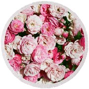 Cluster Of Roses  Round Beach Towel