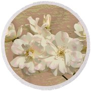 Cluster Of White Roses Posterized Round Beach Towel