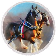 Clydesdales Round Beach Towel