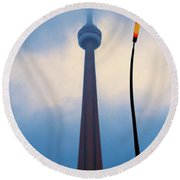 Cn Tower In Toronto With Red Streetlamp Round Beach Towel