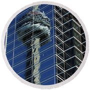 Cn Tower Reflected In A Glass Highrise Round Beach Towel