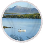 Co Mayo, Ireland Fishing Boat In Clew Round Beach Towel