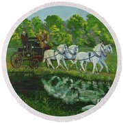 Coach And Four In Hand Round Beach Towel