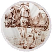 Coach Horses Round Beach Towel