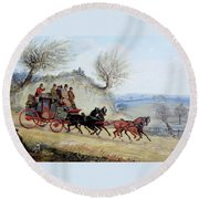 Coaching Oil Of A Royal Mail Coach Crossing Landscape Round Beach Towel