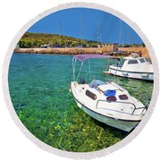 Coast And Beach Of Prvic Island Summer View Round Beach Towel