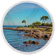 Coast At Antibes France Dsc02221 Round Beach Towel
