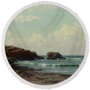 coast by Alfred Thompson Bricher Round Beach Towel