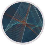 Coast Computer Graphic Line Pattern Round Beach Towel