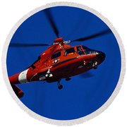 Coast Guard Helicopter Round Beach Towel