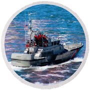 Coast Guard Out To Sea Round Beach Towel by Aaron Berg