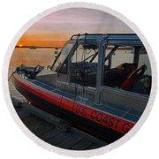 Coast Guard Response Boat At Sunset Round Beach Towel