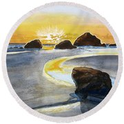 Coast Of Brandon, Oregon Round Beach Towel