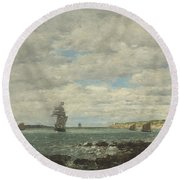 Coast Of Brittany Round Beach Towel