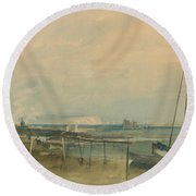 Coast Scene With White Cliffs And Boats On Shore Round Beach Towel