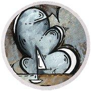 Coastal Art Contemporary Sailboat Painting Whimsical Design Silver Sea II By Madart Round Beach Towel