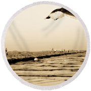Coastal Bird In Flight Round Beach Towel
