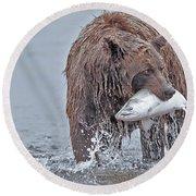 Coastal Brown Bear With Salmon  Round Beach Towel