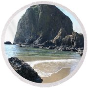 Coastal Landscape - Cannon Beach Afternoon - Scenic Lanscape Round Beach Towel