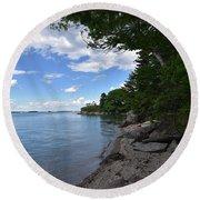Coastal Maine's Rocky Shore On A Beautiful Summer Day Round Beach Towel