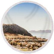 Coastal Tasmanian Town Round Beach Towel