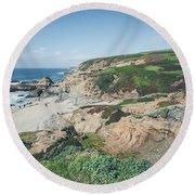 Coastal Views At Bodega Bay Round Beach Towel