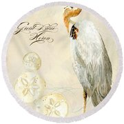 Coastal Waterways - Great Blue Heron Round Beach Towel