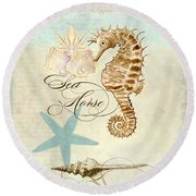Coastal Waterways - Seahorse Rectangle 2 Round Beach Towel