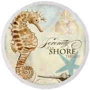 Coastal Waterways - Seahorse Serenity Round Beach Towel