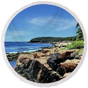 Coastline And Otter Cliff 1 Round Beach Towel